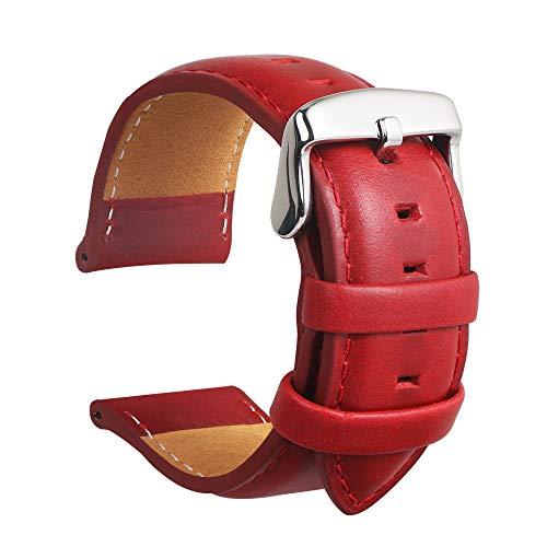 Echtes Leder Uhrenarmband Wasserdichtes Kalbsleder Extra Soft Strap Ersatz Und Frühling Bar Reparatur-Werkzeuge Männer Frauen Geschenk 20MM Rot (Soft-uhr)
