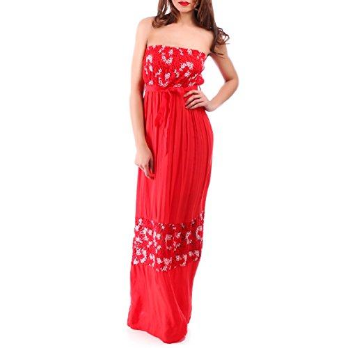 La Modeuse - Robe bustier en tissu léger et fluide Rouge
