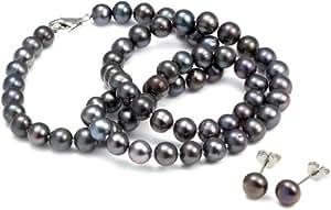 Orchira - Parure Collier et boucles d'oreilles Femme - Argent 1 Gr - Perles d'eau douce