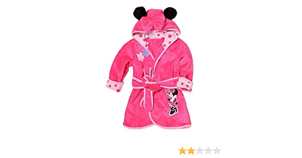 Lovelegis Vestaglia Morbido Pile Accappatoio Personaggi Pigiama Bambina Minnie Mouse Rosa con Cappuccio Notte da Camera Taglia 130-5-6 Anni