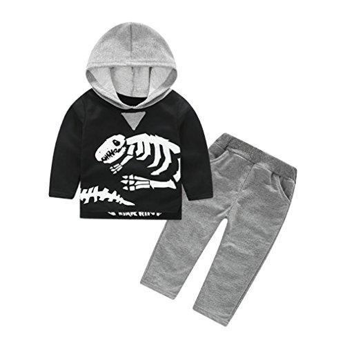 Babyklamotten Hirolan Kleinkind Kinder Dinosaurier Knochen Kapuzenpullover Kleider Set Baby Mädchen Jungen Mit Kapuze Sweatshirt Tops Grau Hose 2T-6T Pyjama Outfit (80cm, Schwarz)