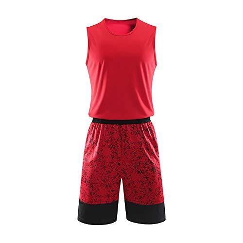 BEHSU Basketball Swingman Jersey Männer Uniform Set Sport Running Game Tops Atmungsaktiv Ärmellos Weste Erwachsene-red-4XL