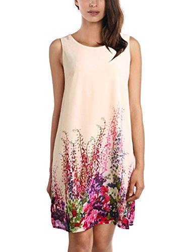 DJT Damen Aermellos Strandkleid Casual Sommerkleid Kleider Apricot X-Large