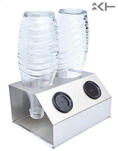 ktDesign 2er Abtropfhalter mit Abtropfschale aus Edelstahl für z.B. Sodastream Crystal inkl. Deckelhalterung