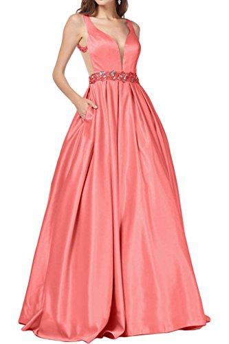 Promgirl House Damen Elegant Traeger Prinzessin A-Linie Abendkleider Ballkleider Hochzeitskleider Lang Wassermelone