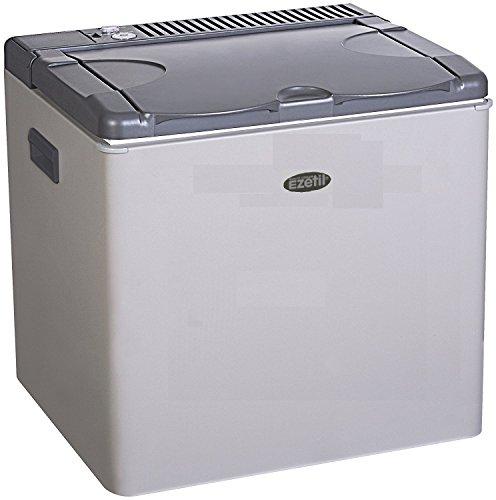 Ezetil lautlose Absorber Kühlbox / Mini Kühlschrak 50 L, Autokühlbox mit 3 Wege Kühlsystem (12 V Auto, 230 V Stromnetz und Gasbetrieb), Autokühlschrank für 72 Getränkedosen, inkl. Eiswürfelbehälter