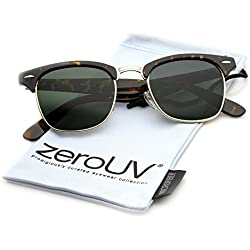 ZeroUV Premium Half Frame Horn Rimmed Sunglasses with Metal Rivets