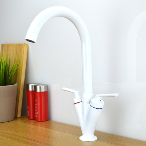 ENKI contemporáneo moderno caño giratorio blanco grifo cocina grifo mezclador monomando para fregadero de cocina