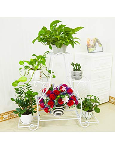 LI MING Shop Flower Stand Multi-Layer-Pflanze Teiler Indoor und Outdoor Flower Pot Rack (Color : White, Size : L) -
