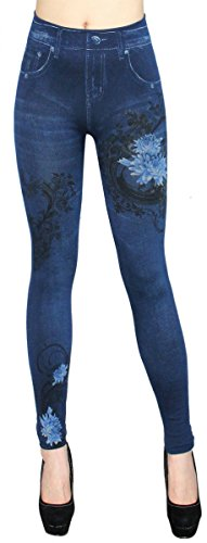 dy_mode Damen Thermo Leggings / Thermo Jeggings mit Innenfleece Thermo Leggins - Gr. 36 bis 42 - WL001-007 (36/38 - S/M, WL013-Blau)