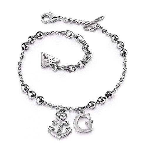Armband Guess uba85000–Armband silber Talisman Knöchel Stahl Kristallanhängern Anker und G Damen