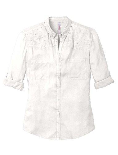 Basics chemisier pour femme avec rivets blanc Blanc - Ecru