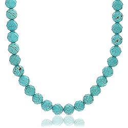 Bling Jewelry Ronda Collar Simulada Turquesa facetada con Cierre Chapado en Plata 19