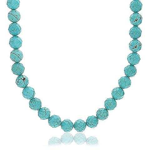Bling Jewelry collier Turquoise reconstituée à facettes bascule plaqué