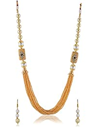 Nakshatra White & Gold Pearl Multi-Strand Beautiful Necklace Set With Earrings For Women & Girls For Christmas...