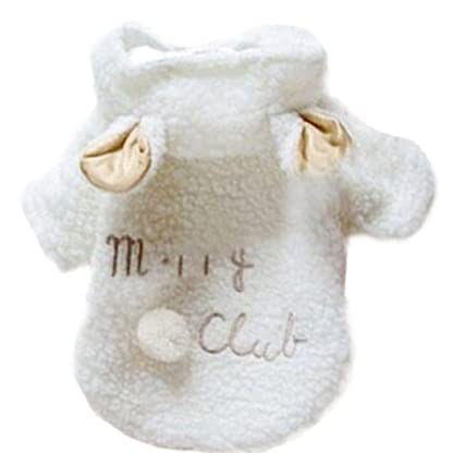 Silvercell Pet Puppy Dog Clothes Winter White Sheep Hoodie Coat Apparel L 1