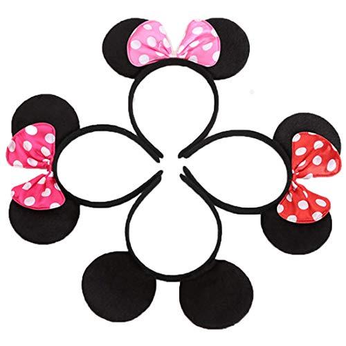 (12 Stücke Schwarz Mickey Rot Rosa Rose Minnie Stirnbänder für Geburtstag Halloween Partys Mama Jungen Mädchen Haarschmuck Schöne Maus Ohren Haarreife Dekorationen (4 Farben Gemischt))