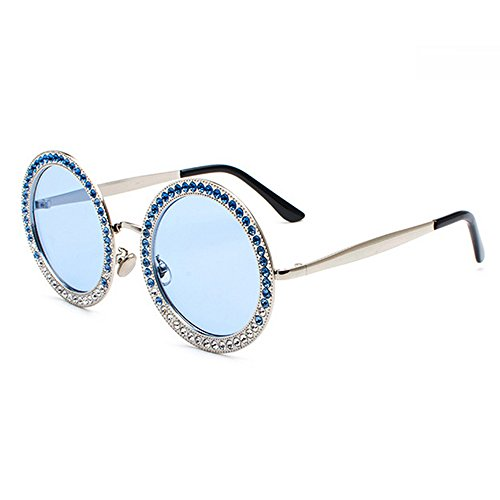97fa4e90359df eye wear. Gafas de sol redondas de gran tamaño con diamantes de imitación  para mujer Elegante marco grande