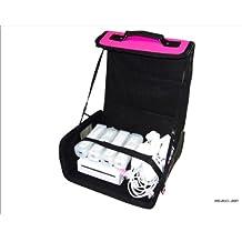 Nintendo Wii Rosa y Negro bolsa de transporte para consola/funda. También para uso de coche.