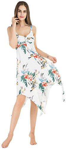 Damen Elegantes Sommer Kleid mit Tiefem V-Ausschnitt Langes Strandkleid ohne Ärmeln Weiß