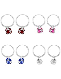 Eloish Pure Sterling Silver Bali 4 Pair Set Earrings.Red Pink Blue White Disco Ball Balis.