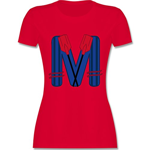 Anfangsbuchstaben - M Schifffahrt - tailliertes Premium T-Shirt mit Rundhalsausschnitt für Damen Rot
