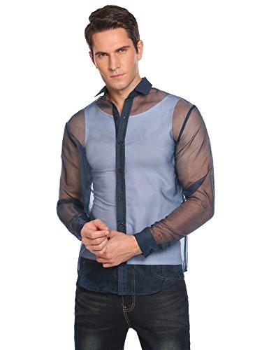 Modfine Herren Hemd Langarm Shirts Tops Transparent Mesh Sexy T-Shirt Party Club Shirt Reizwäsche WB-Blau