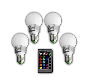 4 led gl hbirne 1 fernbedienung farbwechsel leuchte lampe e27 3w rgb led lampe bulb led. Black Bedroom Furniture Sets. Home Design Ideas
