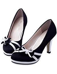 719efb72a567 Clearance Sale!OverDose Women s Spring Fashion Round Toe Shoes Bowknot  Shallow High-Heeled Shoes