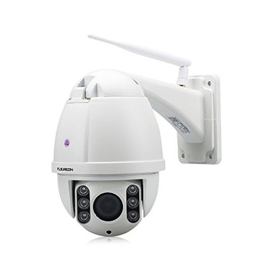 FLOUREON IP Dome Kamera Outdoor Wlan Überwachungskamera 1080P PTZ Außenkamera, 4X ZOOM, ONVIF P2P, IR-CUT Nachtsicht, Wasserdicht, Bewegungsmeldung, Unterstützt Micro SD Karte (Kamera Varifocal Ip 5)