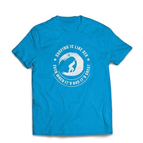 lepni.me Männer T-Shirt Surfen ist wie Sex, inspirierender Humor Geschenk für Surfer (Small Blau Mehrfarben)