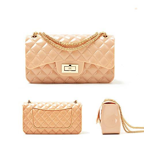 Damen Kette Tasche Damen Tasche Kleine Duft Quilt Jelly Pack Mode Beutel Süßigkeiten Trends Helles Gesicht Kleine Quadratische Tasche,Apricot -