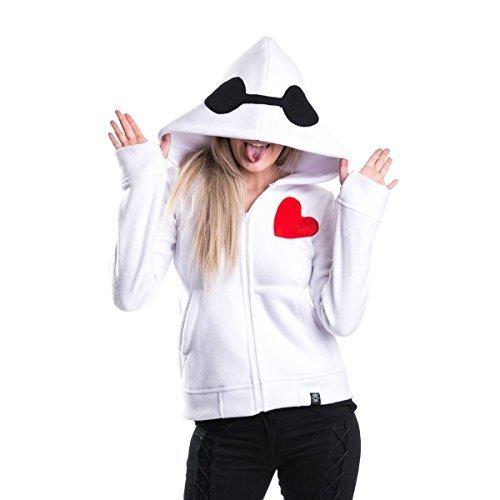Disnep Leben Schützer Damen Kapuze weiß BAYMAX BIG HERO 6 Cosplay Emo Punk - Weiß, 12-14 / (Kostüm Weiß Baymax)