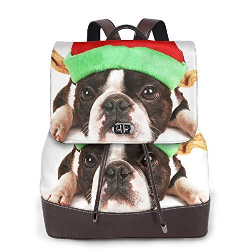 Qualität Speichern Kostüm - Rucksack Damen Kostüm Elf Boston Terrier Weihnachten, Leder Rucksack Damen 13 Inch Laptop Rucksack Frauen Leder Schultasche Casual Daypack Schulrucksäcke Tasche Schulranzen
