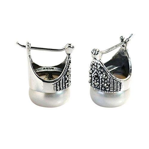Jade Angel Sterling Silber Mutter von Perle Reifen Ohrringe Thai Vintage Schmuck