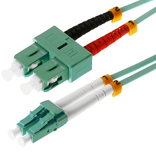 Preisvergleich Produktbild Helos LWL Patchkabel 50/125 m OM3 LC/SC 2,0 m, SC und LC Duplex Stecker, aqua / türkis, 115740