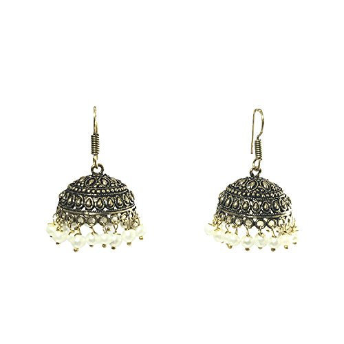 Jannat Jewellers Metalic Rajasthani Jhumka Earring For Women - Beige  available at amazon for Rs.130