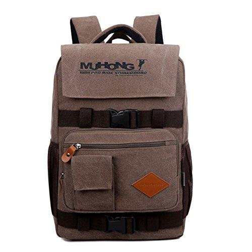 Wewod Zaino da viaggio di alta qualità per ragazzi-con scomparto per laptop da 15-16Tela resistente materiale stile vintage, Brown (multicolore) - SB1259