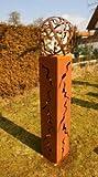 Gartendeko Fackel Doris 125cm mit Muster Feuerkugel Rostkugel*
