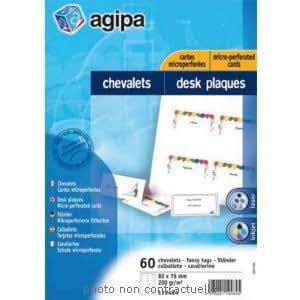 Pochette de 60 chevalets porte-nom micro perforé 80x76mm en papier 200g APLI AGIPA