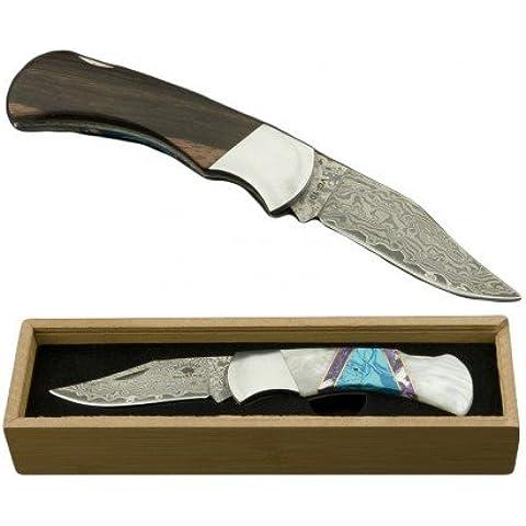 ED MAHONY Damasco-cuchillo de bolsillor con hoja VG-10, NAVAJO
