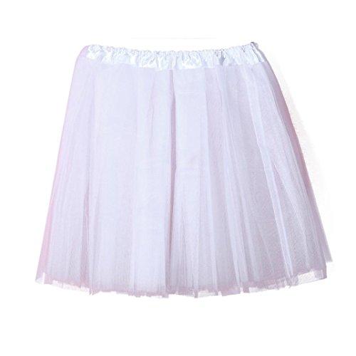 Damen Rock Ballettröckchen Tutu Kleid Qualität Plissee Gaze kurzer Rock Erwachsenen Tutu Tanzen Rock (Weiß) (Weißer Rock Gaze)