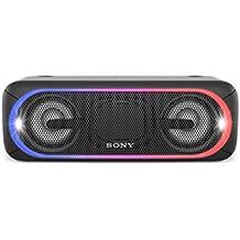 Sony SRS-XB40B - Altavoz inalámbrico portátil (Bluetooth, NFC, Extra Bass, 24 horas de batería, Wireless Party Chain, luz lineal multicolor, flash estroboscópico) color negro