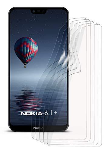 moex 5X Nokia 6.1 Plus | Schutzfolie Klar Bildschirm Schutz [Crystal-Clear] Screen Protector Display Handy-Folie Dünn Bildschirmschutz-Folie für Nokia 6.1 Plus Bildschirmfolie