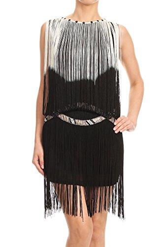 anza Fransen Troddel Trim Drop Flapper Silber verschönert Tropfen Taille Cocktail Minikleid Kleid (Entwerfen Von Frauen Halloween-kostüm)