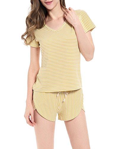 NORA TWIPS Ladies Women Summer Short Pyjama Set V-Neck Striped Pyjamas Shorts and Top Set