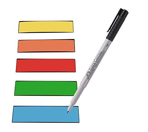Preisvergleich Produktbild Magnetstreifen Etiketten bunt 100x30 mm - 150 Stück - beschreibbar incl. Stift