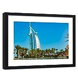Feeby Cuadro Marco Negro Dubai Lista para Colgar Arquitectura Palmas Vista Azul 60x40 cm