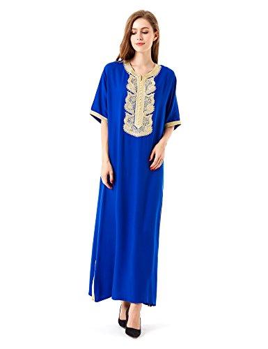 Muslim Abaya Dubai kleider für Frauen islamischen Kleid Islamische Kleidung muslimische Kaftan Rayon Gewand Jalabiya 1604 Blau