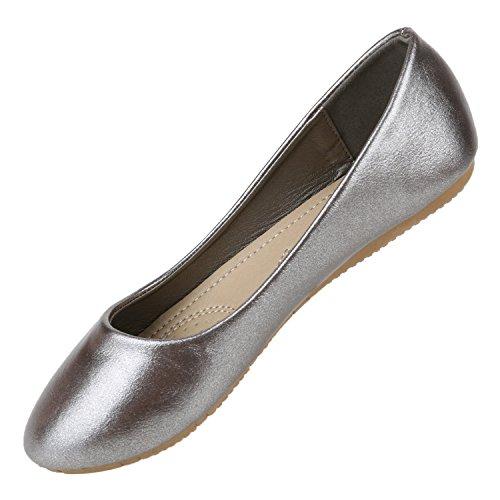 Klassische Damen Ballerinas   Flats Leder-Optik Lack   Metallic Schuhe Glitzer Schleifen   Ballerina Schuhe Übergrößen Grau Metallic